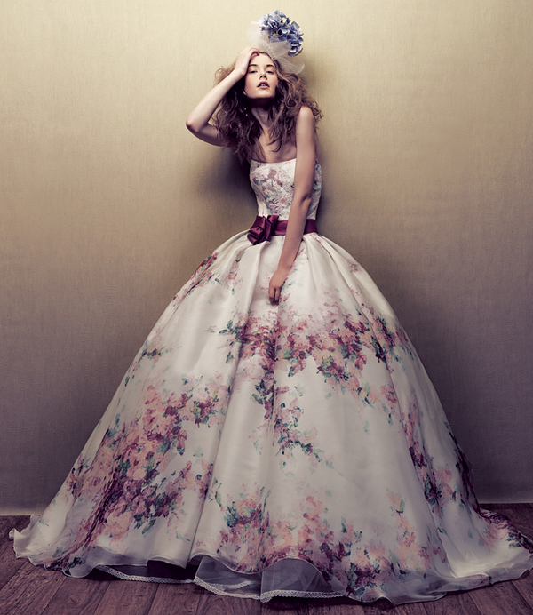printed ball gown wedding dress