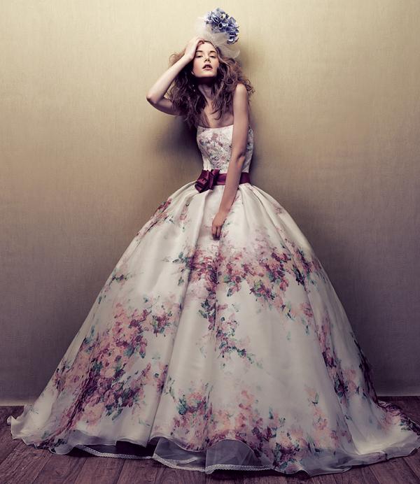 printed ball gown wedding dress