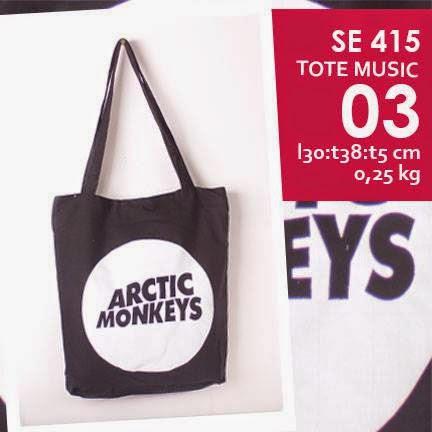jual online tote bag kanvas murah tema musik logo grup band arctic monkeys
