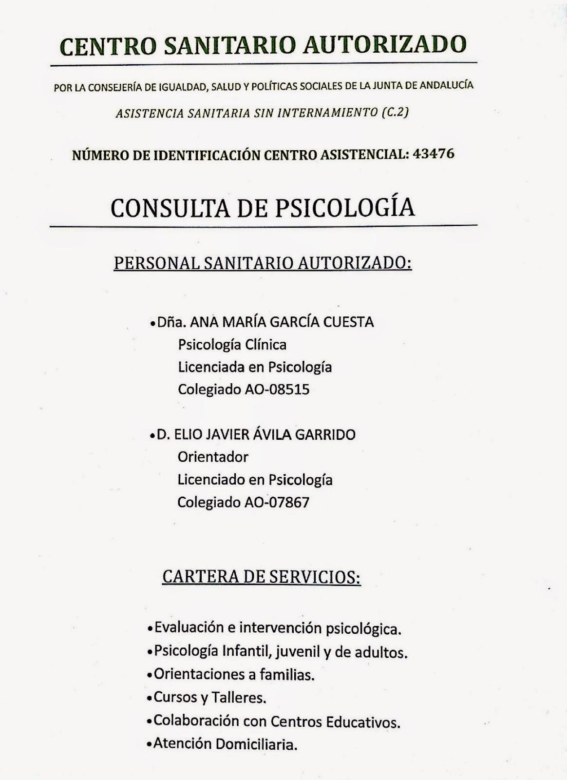 CENTRO SANITARIO AUTORIZADO