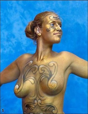 full girl body art paint