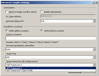Changing the target framework in Visual Basic projects