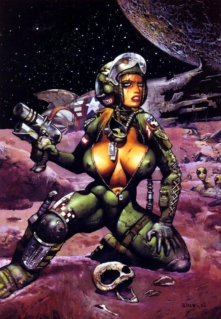 Dessin de Simon Bisley représentant une femme spationaute très sexy au décoleté très profond
