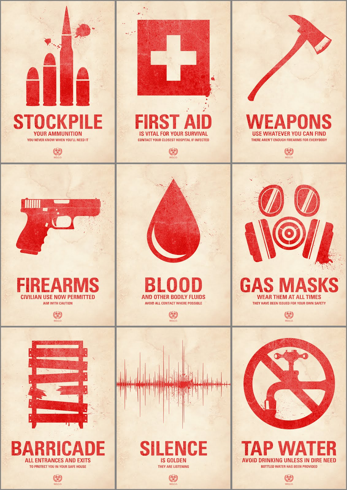 Zombie survival kit labels template