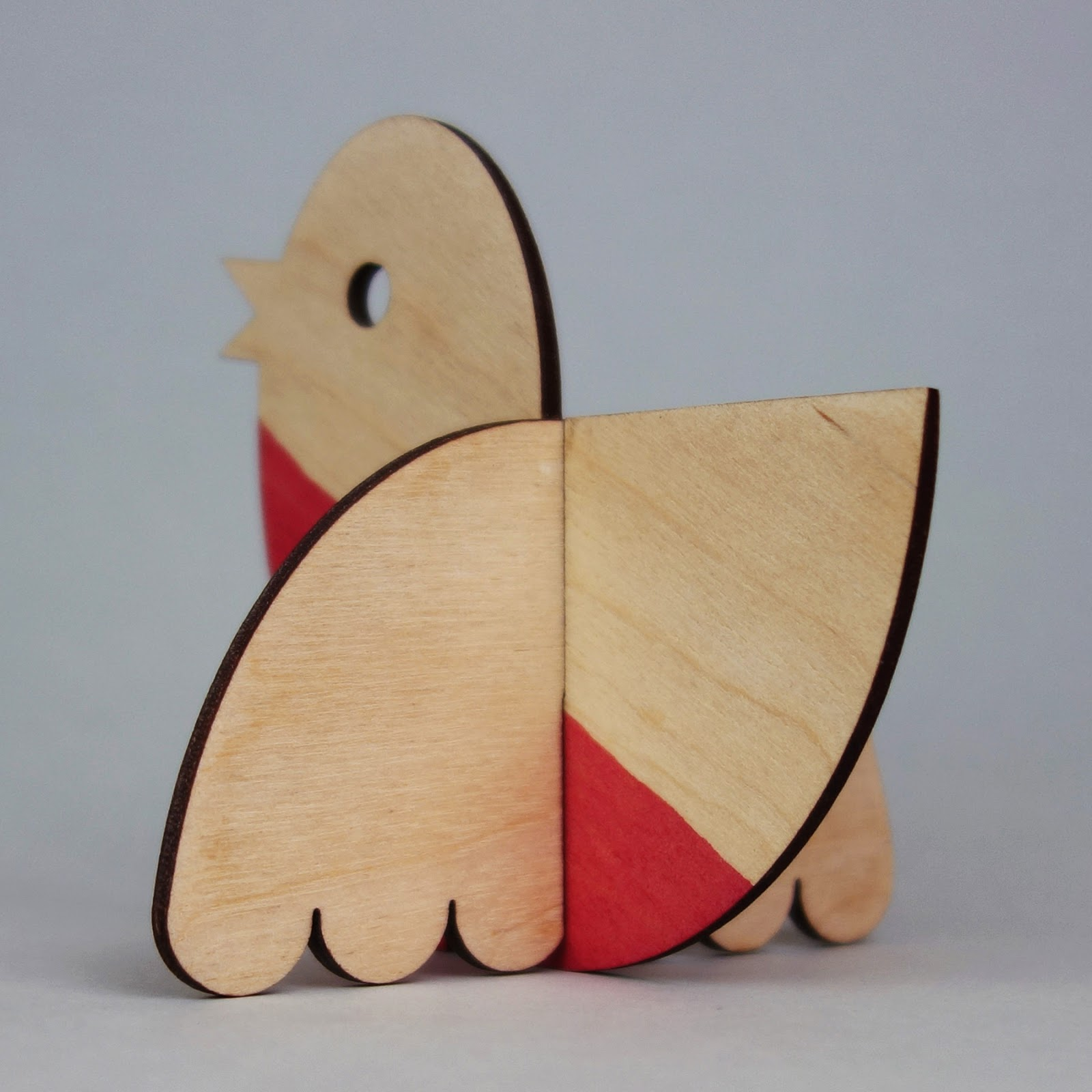 Plywood Christmas robin maquette 2014, 3/4 rear