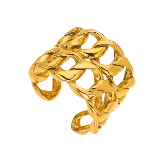 Vintage 1990's gold double chain Chanel cuff bracelet