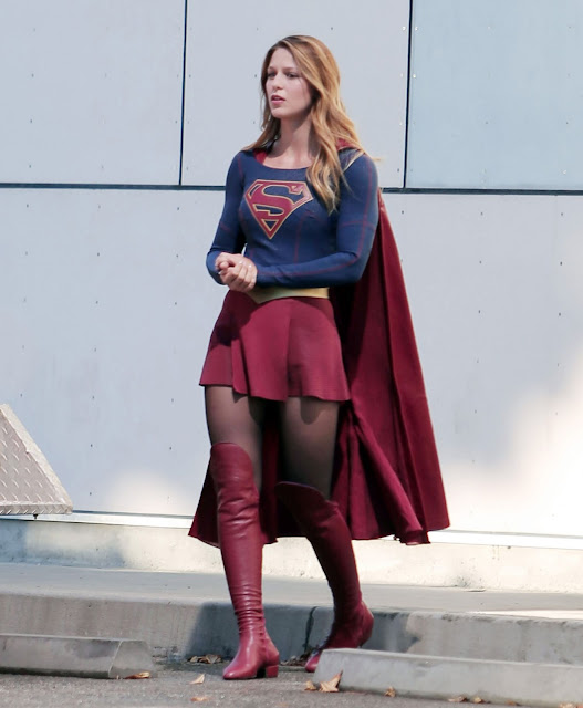 Actress, Singer @ Melissa Benoist on the Set of Supergirl in Los Angeles