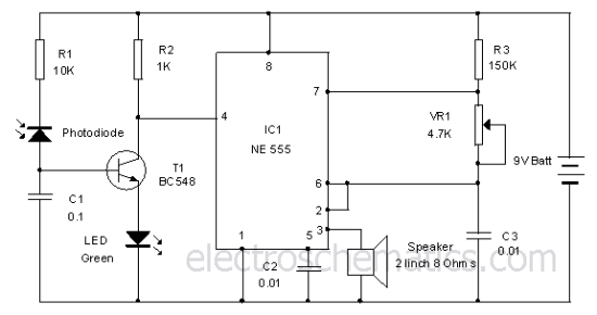 diy electronic projects 2015photodiode alarm circuit