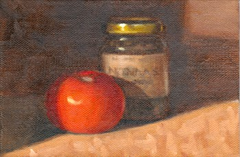 Oil painting of a bright red tomato in front of a small jar of crushed green olives.
