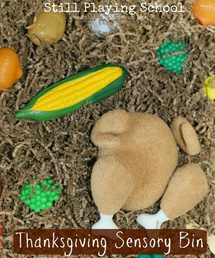 Thanksgiving sensory bin play for kids