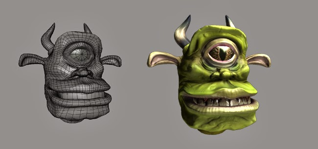 Troll Head wire frame and render