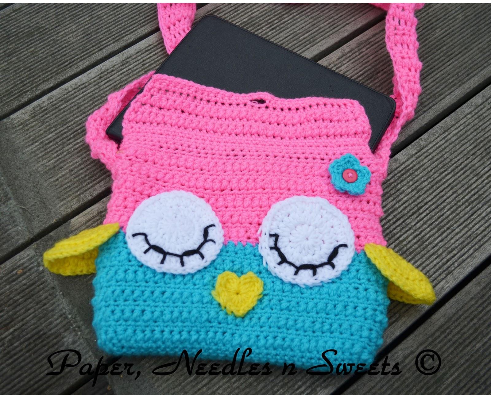 Free Crochet Pattern Owl Tote Bag : Paper, Needles n Sweets : Sleepy Owl Ipad Crochet Bag