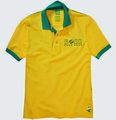 polo amarelo Brasil coleção Hugo Boss em homenagem a Copa do Mundo