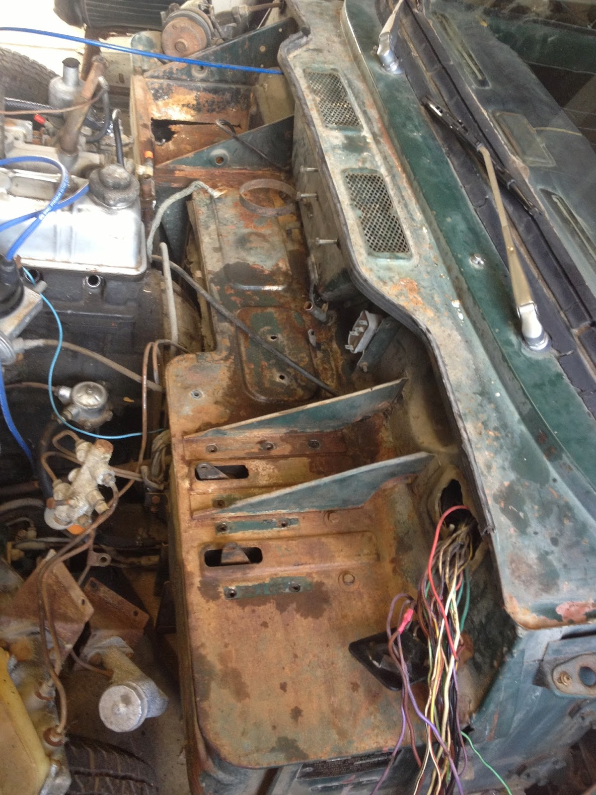 1969 Triumph Spitfire Mk3 Project Wiring Woes Here We Go Again Removing Wires From Harness After The It Was A Good Time To Remove Everything Off Of Bulkhead So That Surface Rust Can Be Addresses