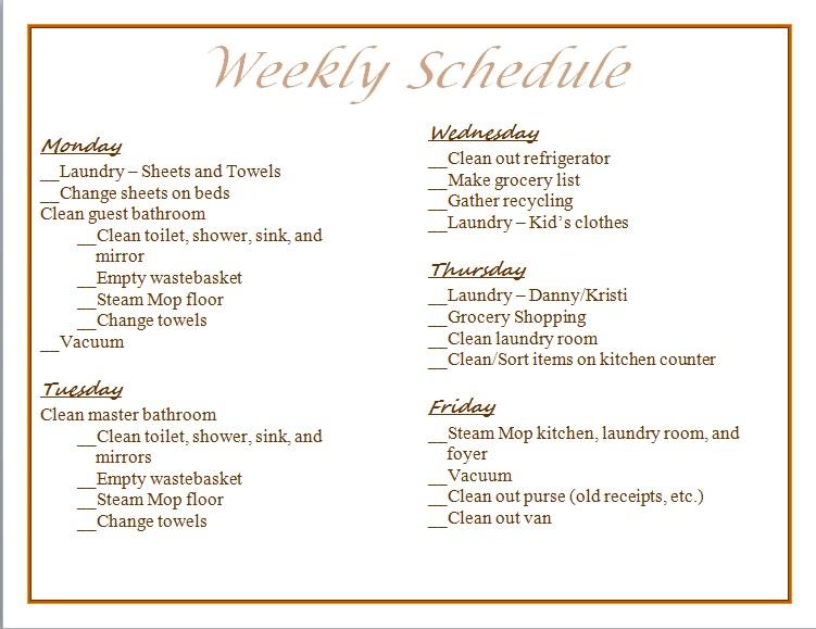 kristi s recipe box weekly chore chart