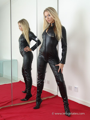 Sexy Nadia Hot Blonde in Black Leather Catsuit and Heels