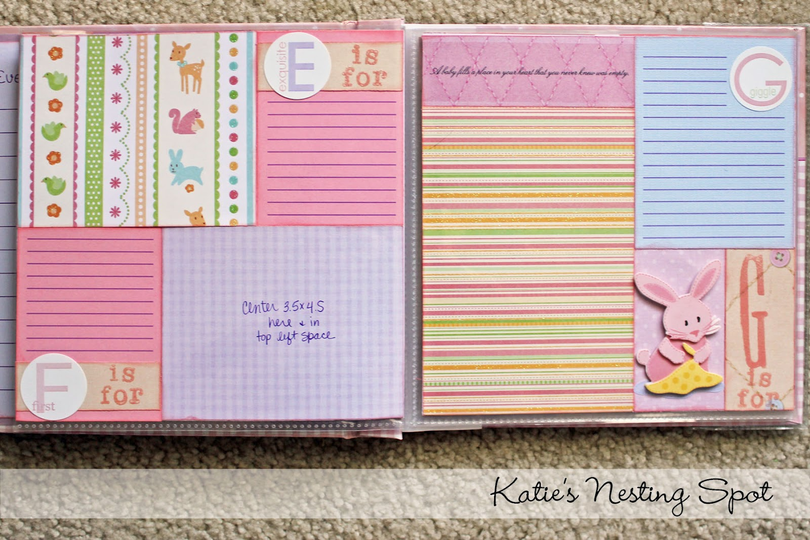 Abc scrapbook ideas list - Then I Pulled Together My Baby Themed Stash And Embellished Each Layout To Make It Special And Unique
