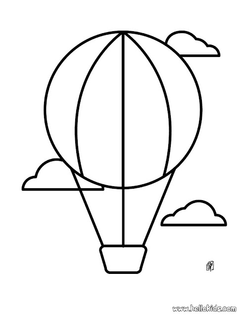 kindergarten coloring page hot air balloon