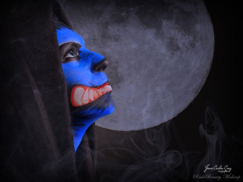 rubibeauty facepaint maquillaje fantasia lobo azul wolf face painting