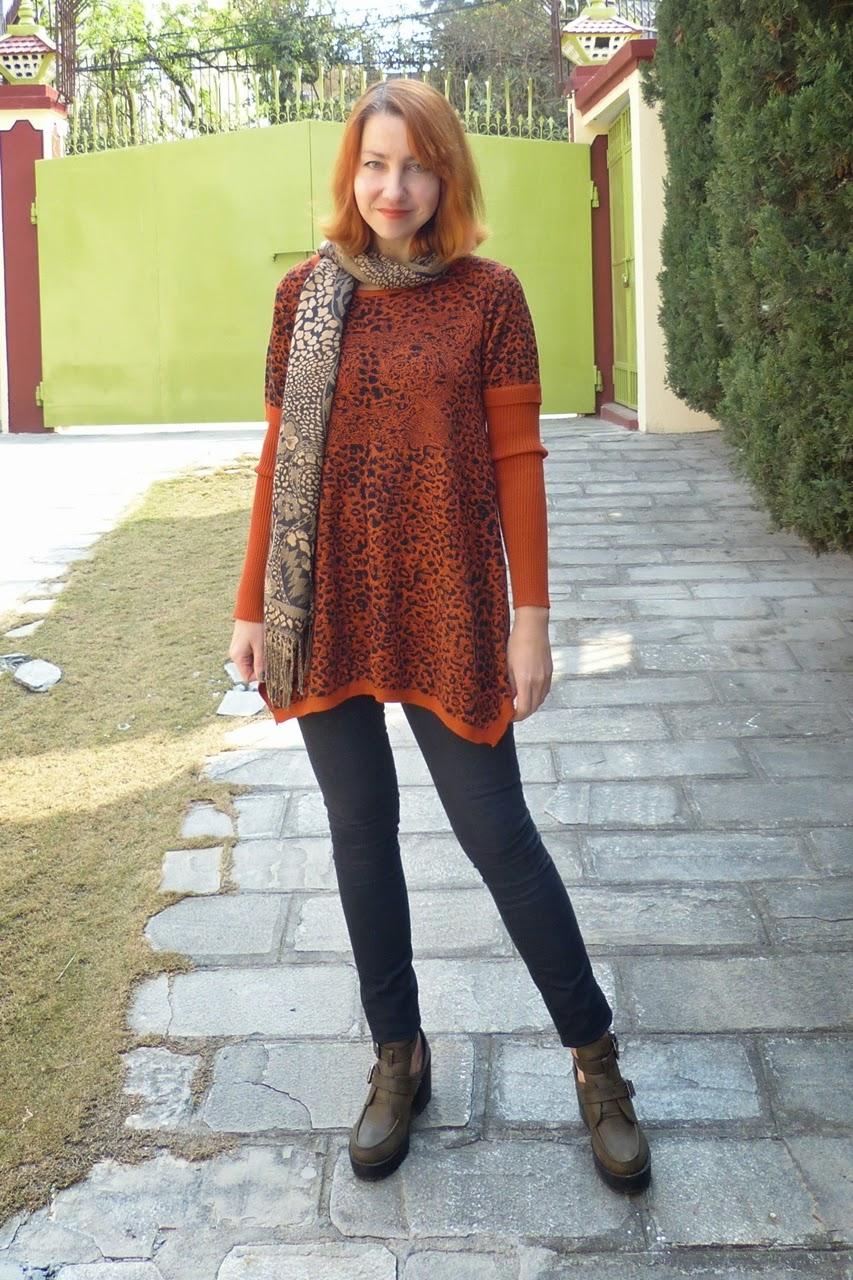 Leopard print sweater dress in rusty brown