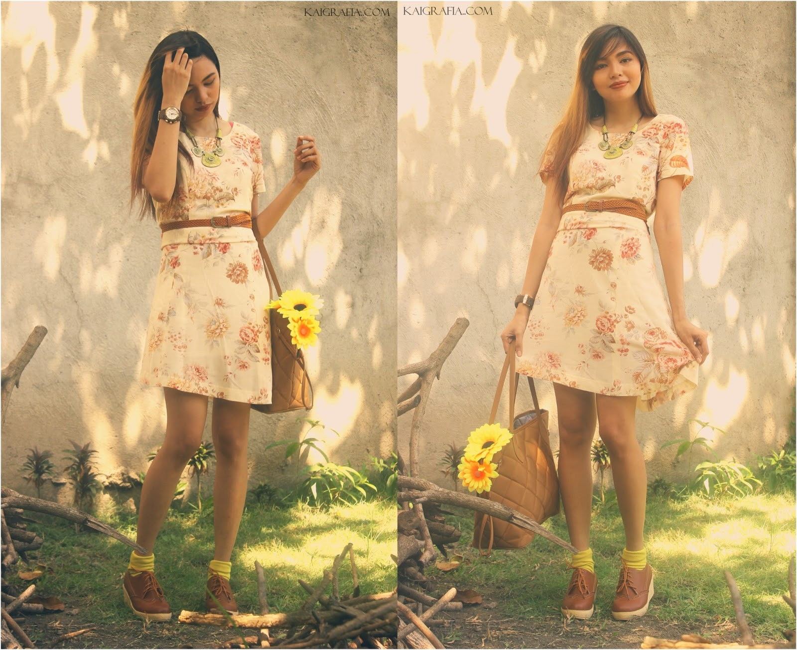 floral vintage dress with laceup oxfords
