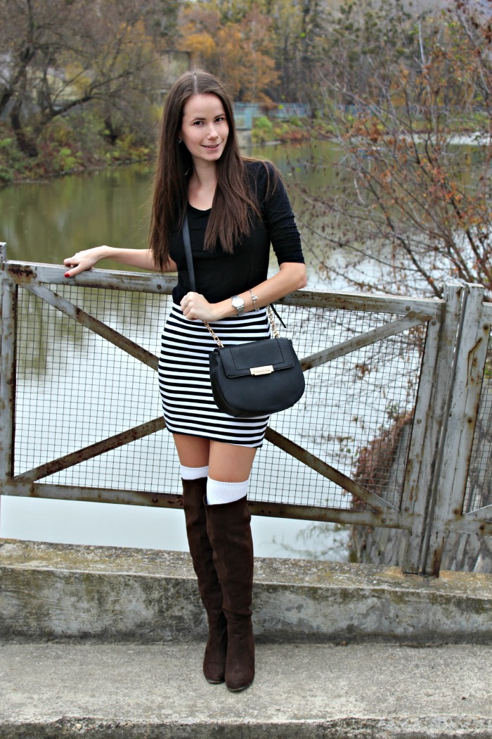 Stripes & Over the Knee Boots - Stiletto in the Cloud
