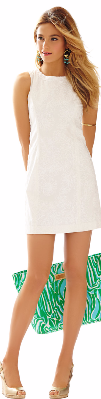 LILLY PULITZER MILA LACE DETAIL SHIFT DRESS IN RESORT WHITE LION