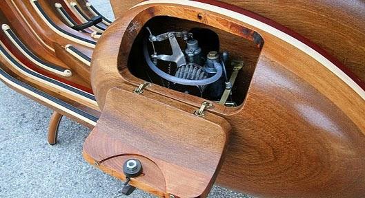 Gambar Modifikasi Motor Vespa Unik, Body dari Kayu