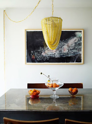 yellow beaded chandelier