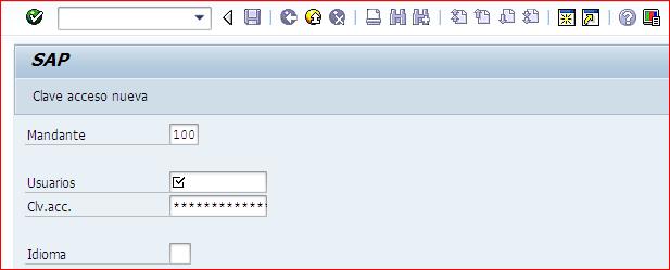 Pantalla inicial SAP