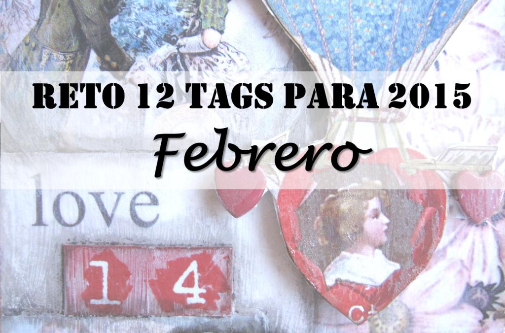portada detalle tag vintage con la palabra love un corazón de San Valentin con título: Reto 12 tags para 2015: Febrer0
