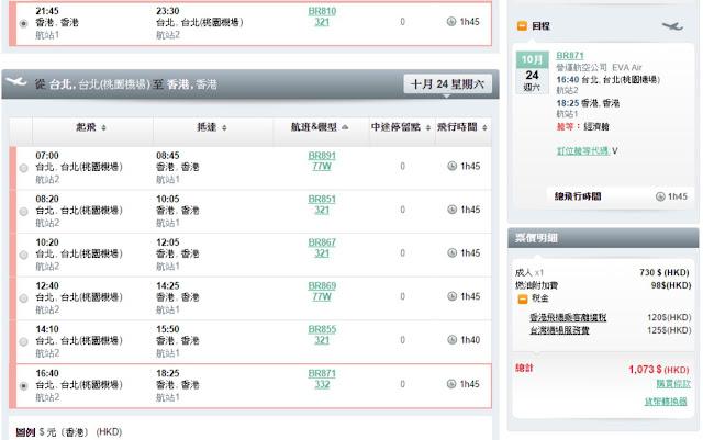 長榮航空 Eva Air香港往返台北$730起(連稅$1,073)