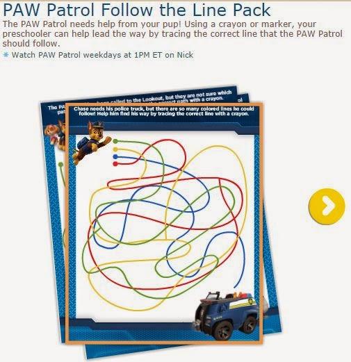 Paw Patrol: Juego de Seguir la Línea para Imprimir Gratis.