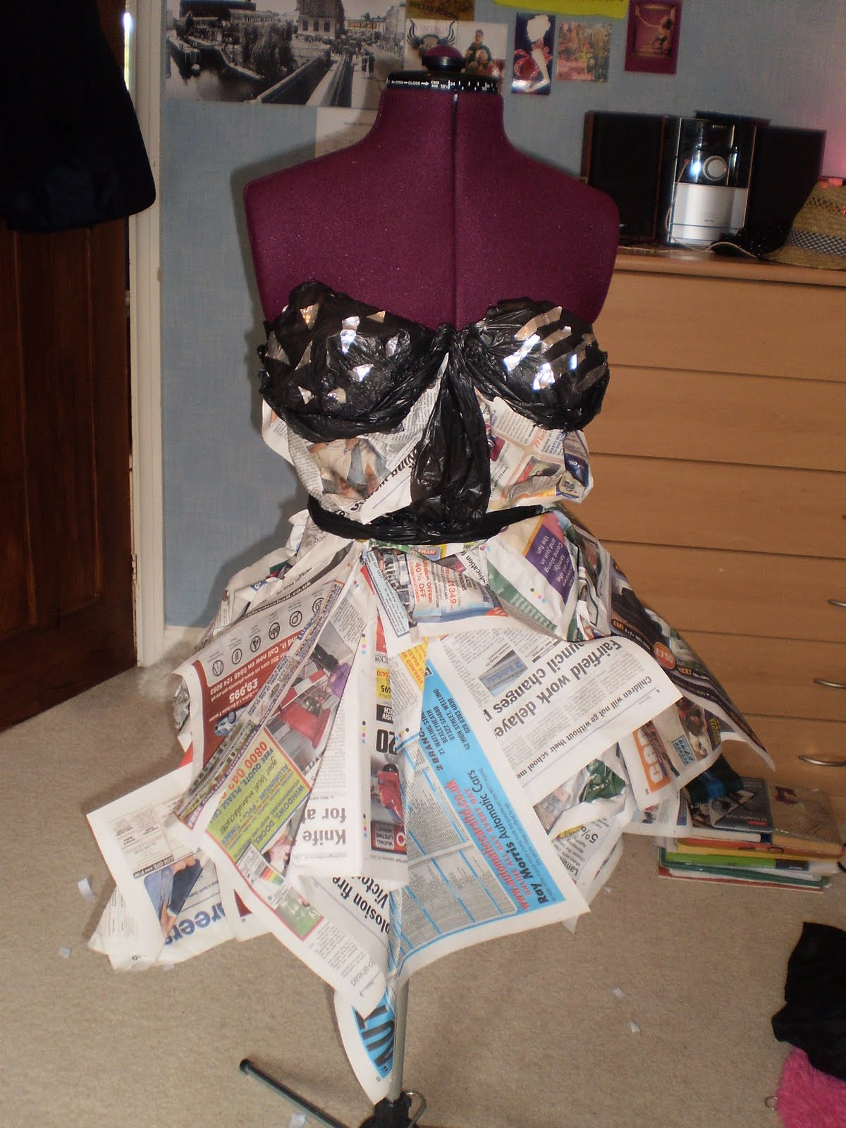 Fashions Fade Style Is Eternal Dress Made Out Of Newspaper Bin Bags And Tin Foil