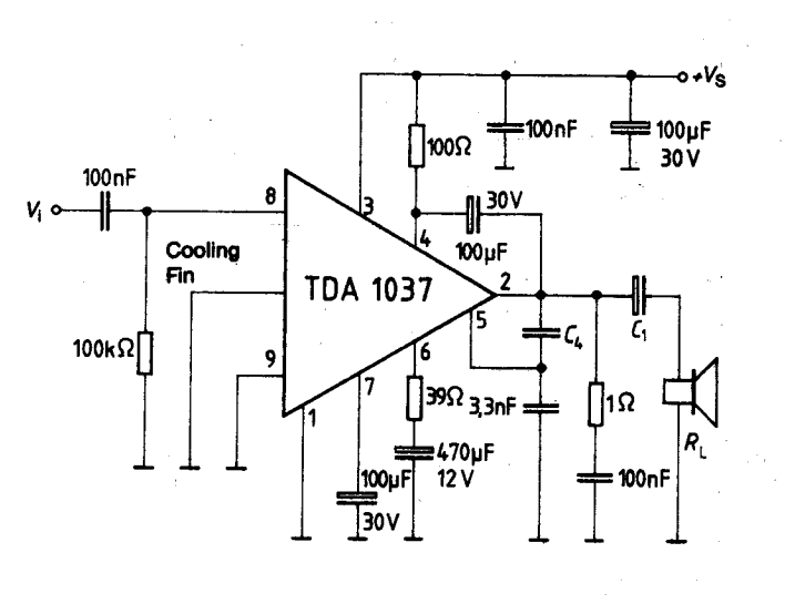 5w power amplifier ic with thermal shutdown tda1037
