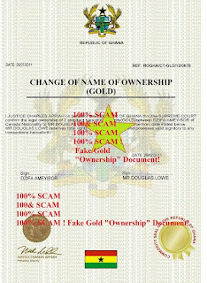 this fake gold scam document is being use d to