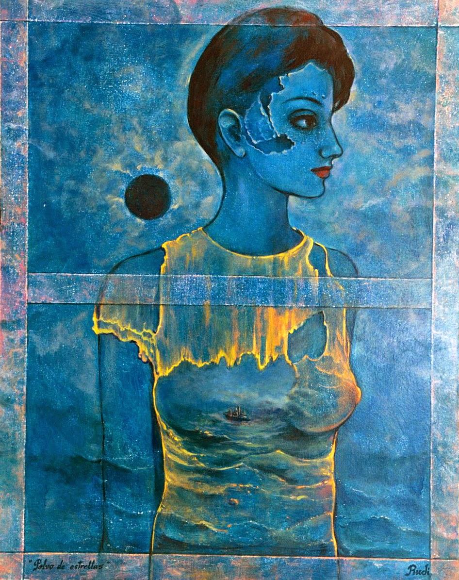 Cuadro surrealista de pintora Rudi, mujer azul con mar y barco.