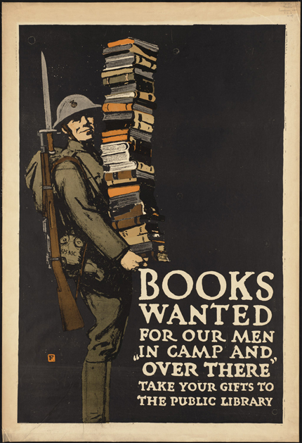 classic posters, free download, free printable, graphic design, military, printables, propaganda, retro prints, vintage, vintage posters, vintage printables, war, wwii, advertising, book poster, books, public service announcement, Books Wanted for Our Men Over There - Vintage Book, Library, War Military Poster