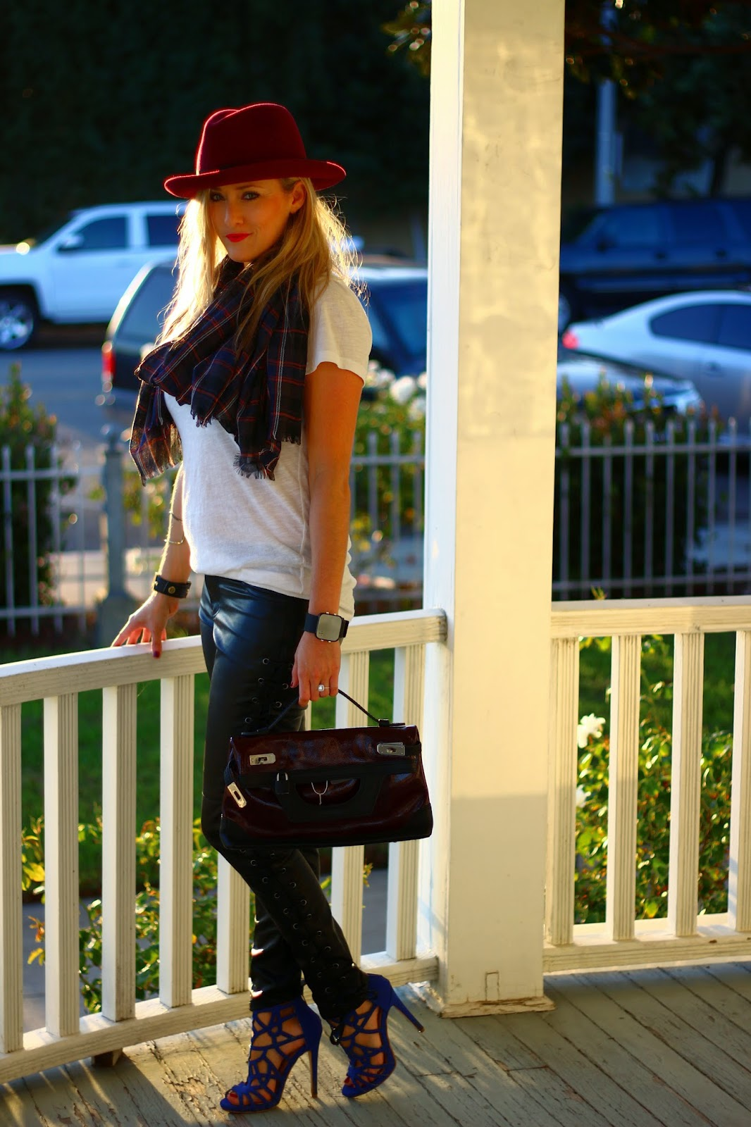Plaid Scarf, Fall Outfit, V-Neck Tee, Leather Pants