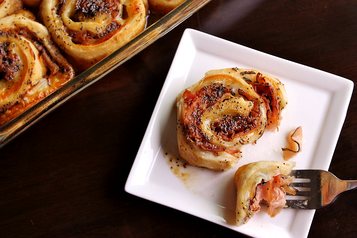 Baked Ham + Cheese Wheels With Dijon Glaze
