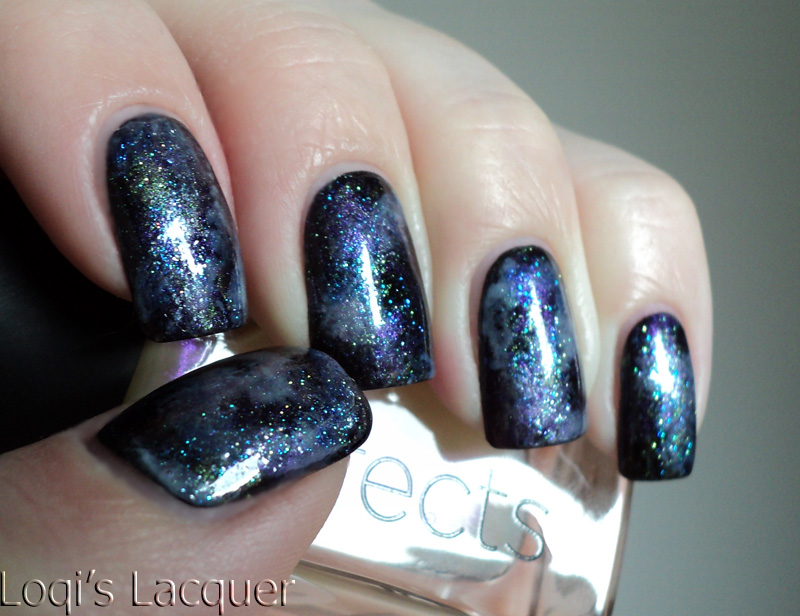 Love varnish space nails for Outer space nail design