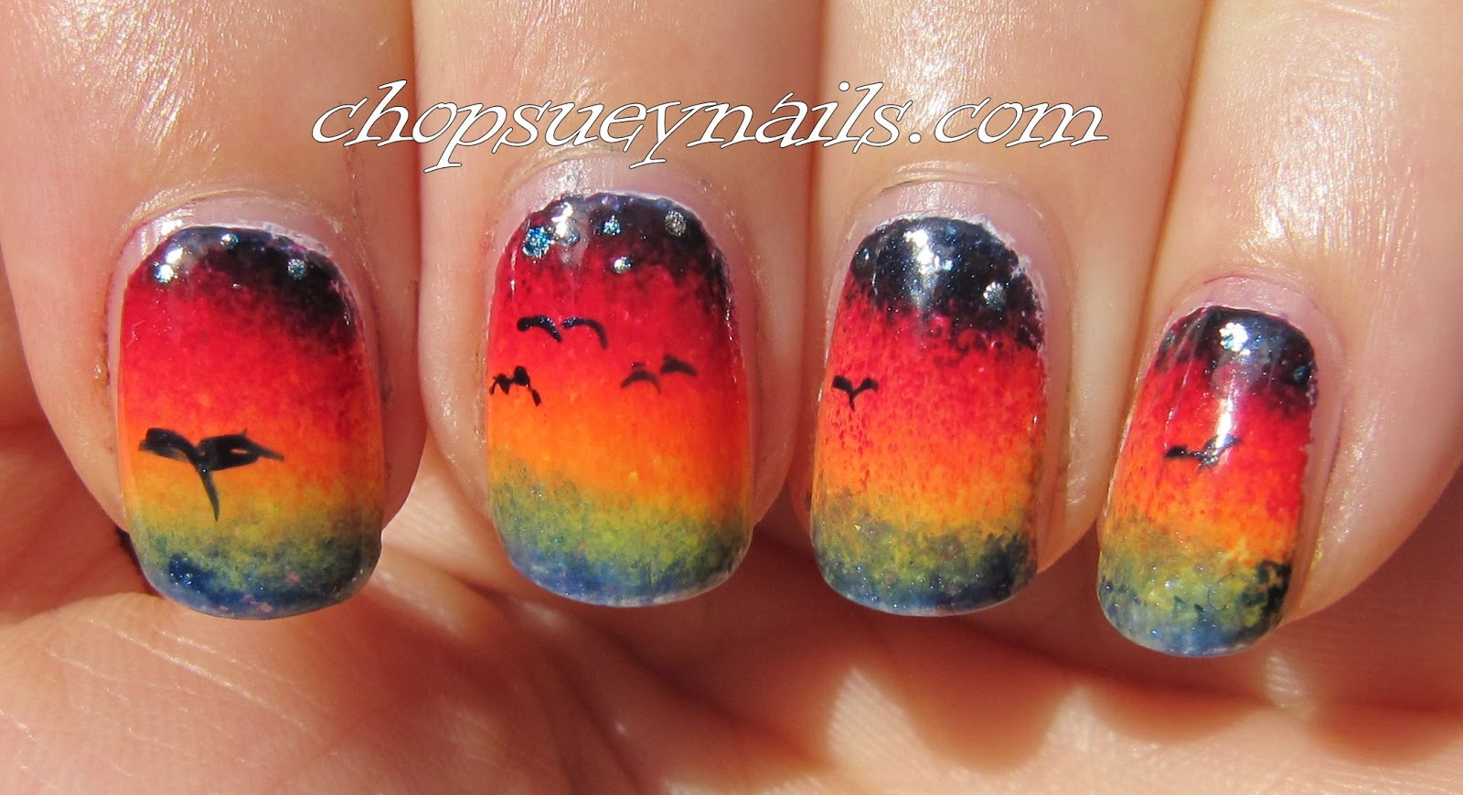 Sunset Over Sea Gradient Nail
