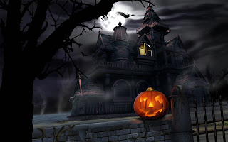House And Pumpkin Dark Gothic Wallpaper