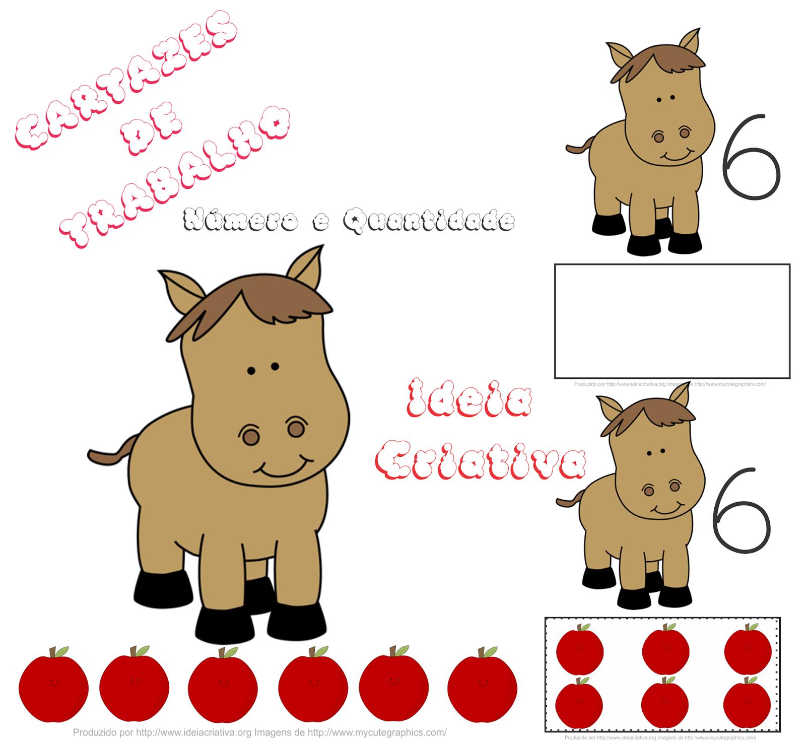 Cartazes Número e Quantidade Cavalinho e Maçãs para Baixar Grátis