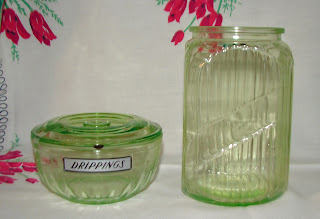 Anchor Hocking hoosier green depression glassware