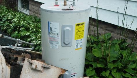 hot water tank in yard