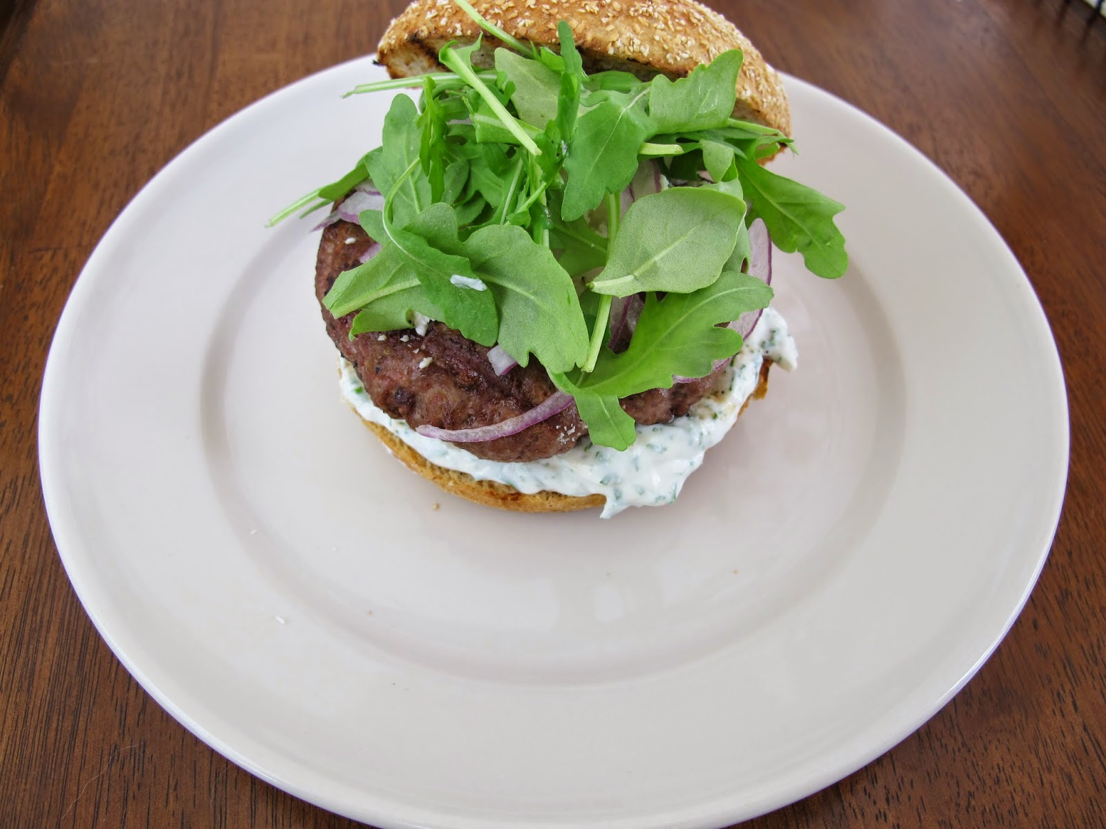 Grilled Lamb Burgers with Feta Cheese and Tzatziki Sauce