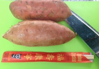 two whole sweet potatoes