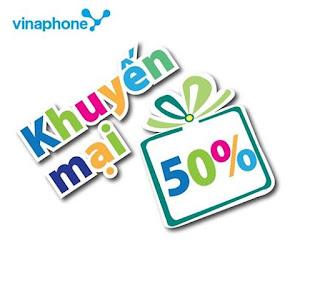 Vinaphone khuyến mãi 50% giá trị các thẻ nạp 30/72015