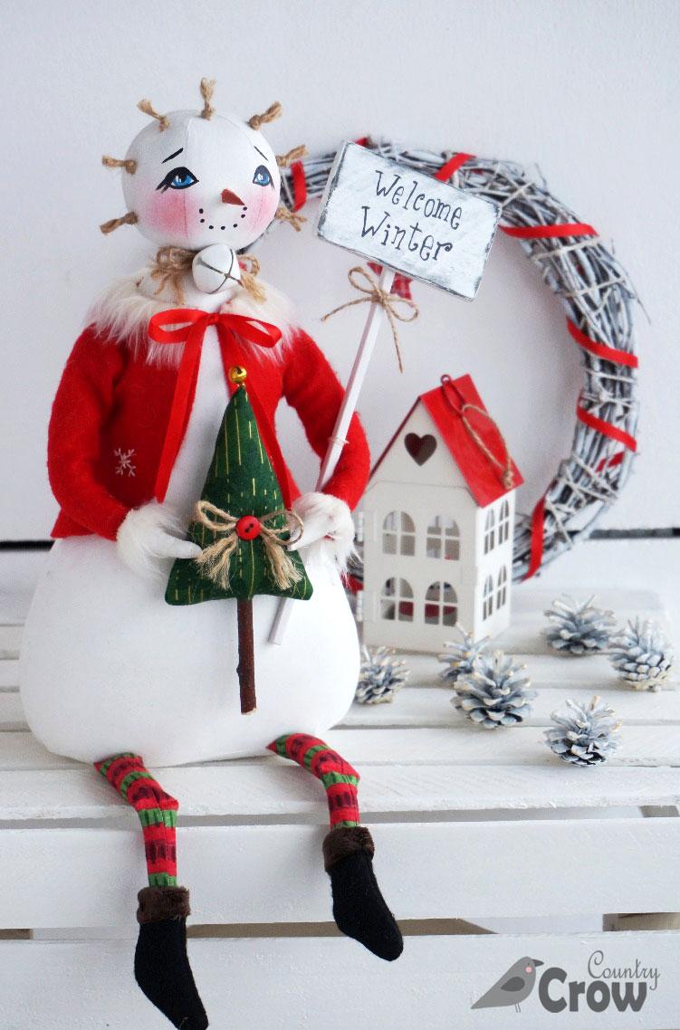 Снеговик - текстильная кукла